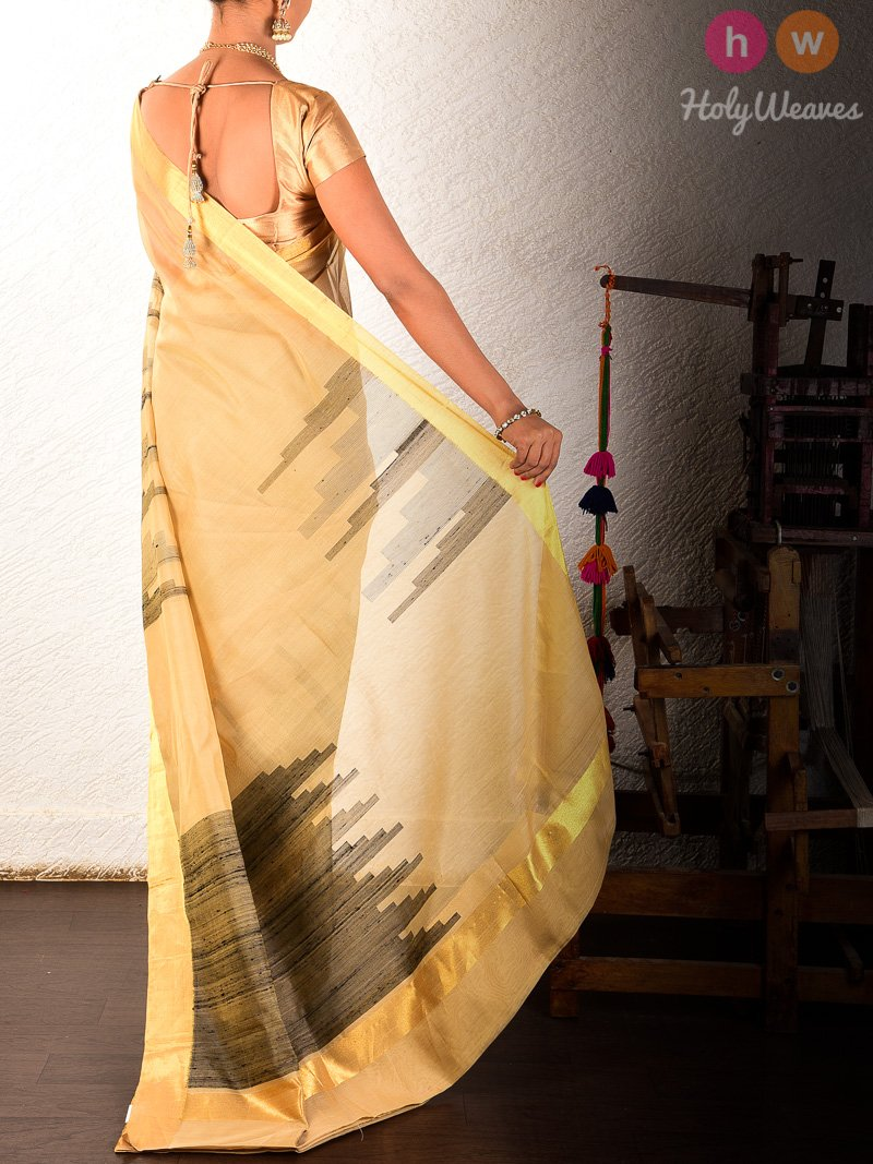 Beige Kadhuan (कढ़ुआँ) Brocade Handwoven Pure Cotton Silk Saree - HolyWeaves
