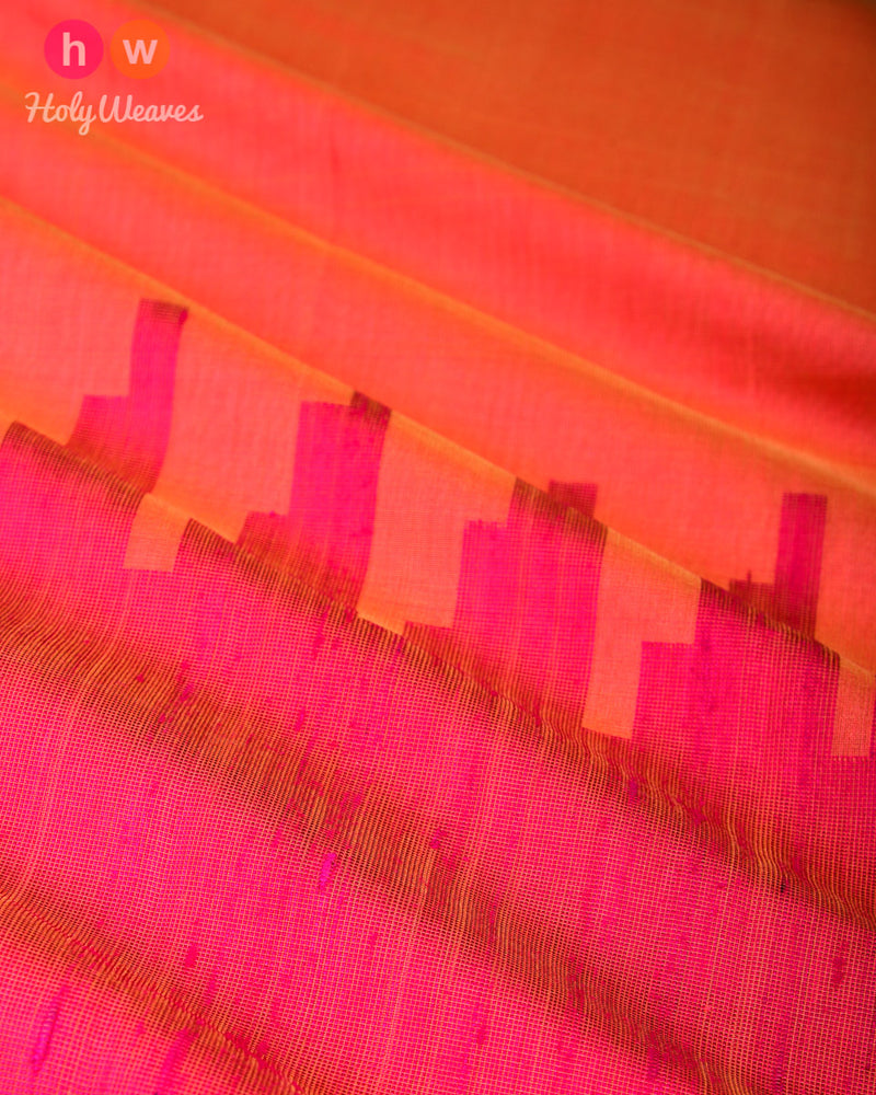 Orange Kadhuan (कढ़ुआँ) Brocade Handwoven Pure Cotton Silk Saree- HolyWeaves