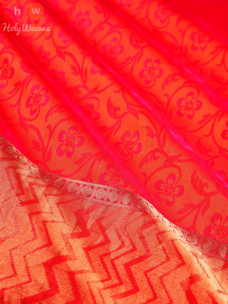 Red Tanchoi Brocade Handwoven Pure Cotton Silk Saree - HolyWeaves