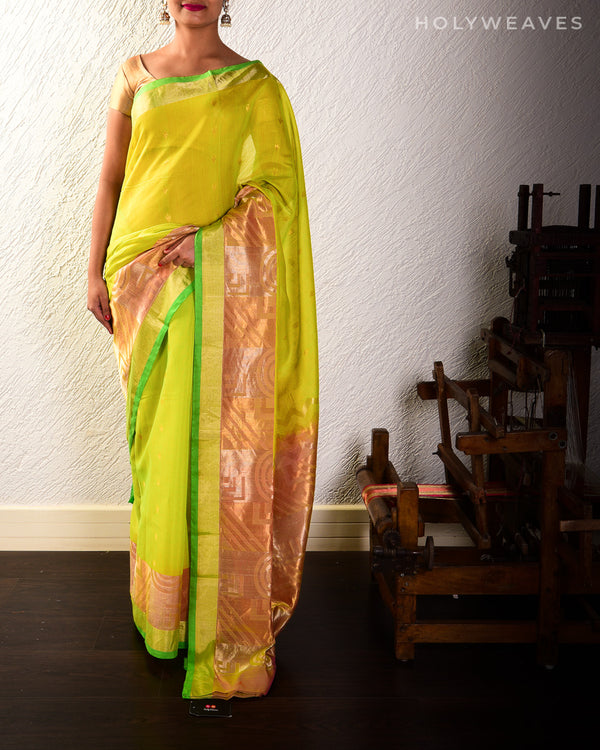 Green Cutwork Brocade Handwoven Pure Cotton Silk Saree