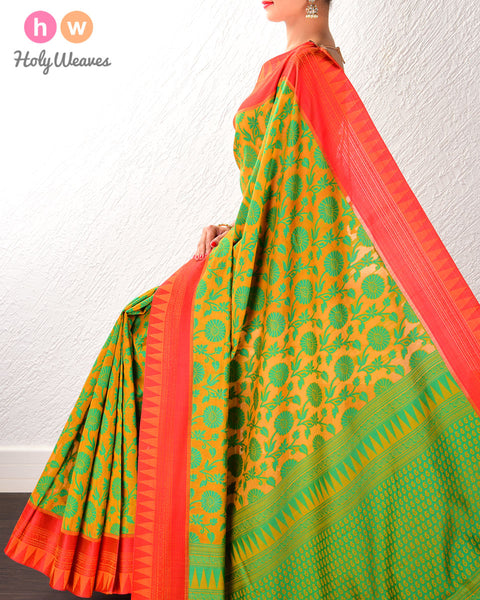 Yellow-Green Cutwork Brocade Handwoven Pure Cotton Silk Saree
