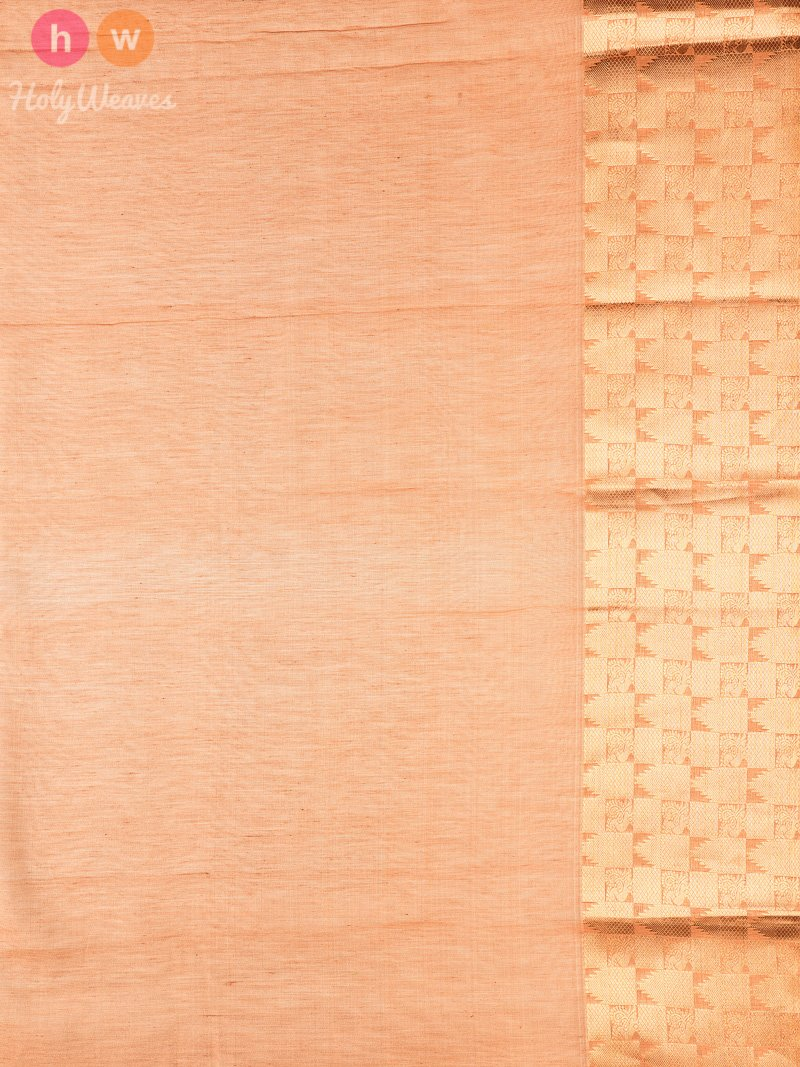 Brown Tanchoi Brocade Handwoven Pure Cotton Silk Saree - HolyWeaves