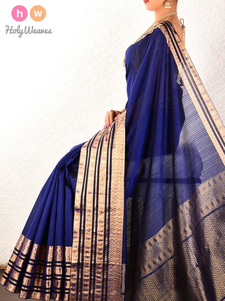 Navy Blue Tanchoi Brocade Handwoven Pure Cotton Silk Saree - HolyWeaves