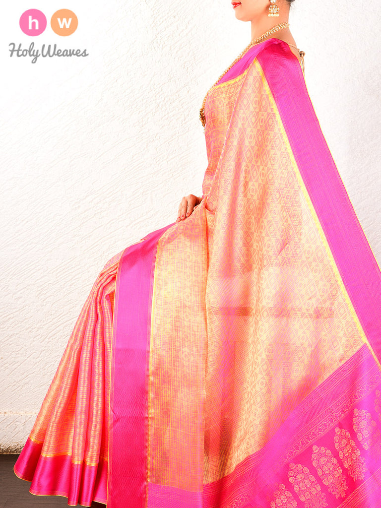 Peach Tanchoi Handwoven Kota Silk Saree - HolyWeaves