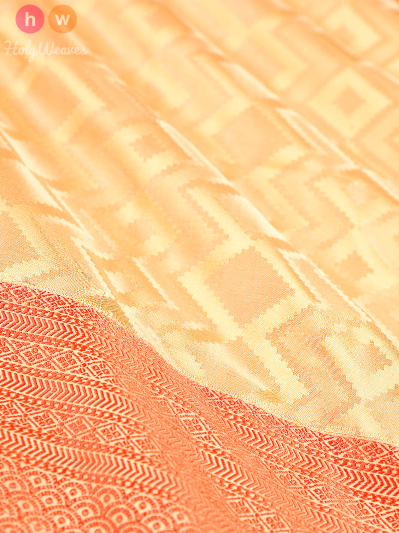 Beige Tanchoi Brocade Handwoven Pure Silk Saree - HolyWeaves