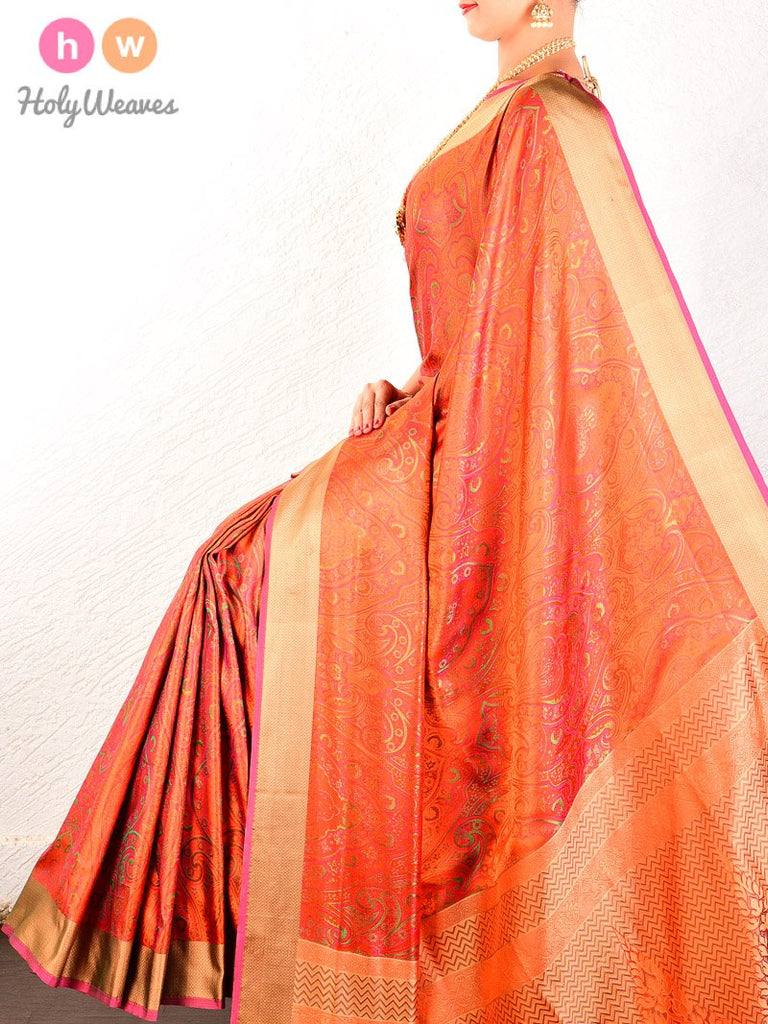 Orange Jamawar Handwoven Pure Silk Saree - HolyWeaves