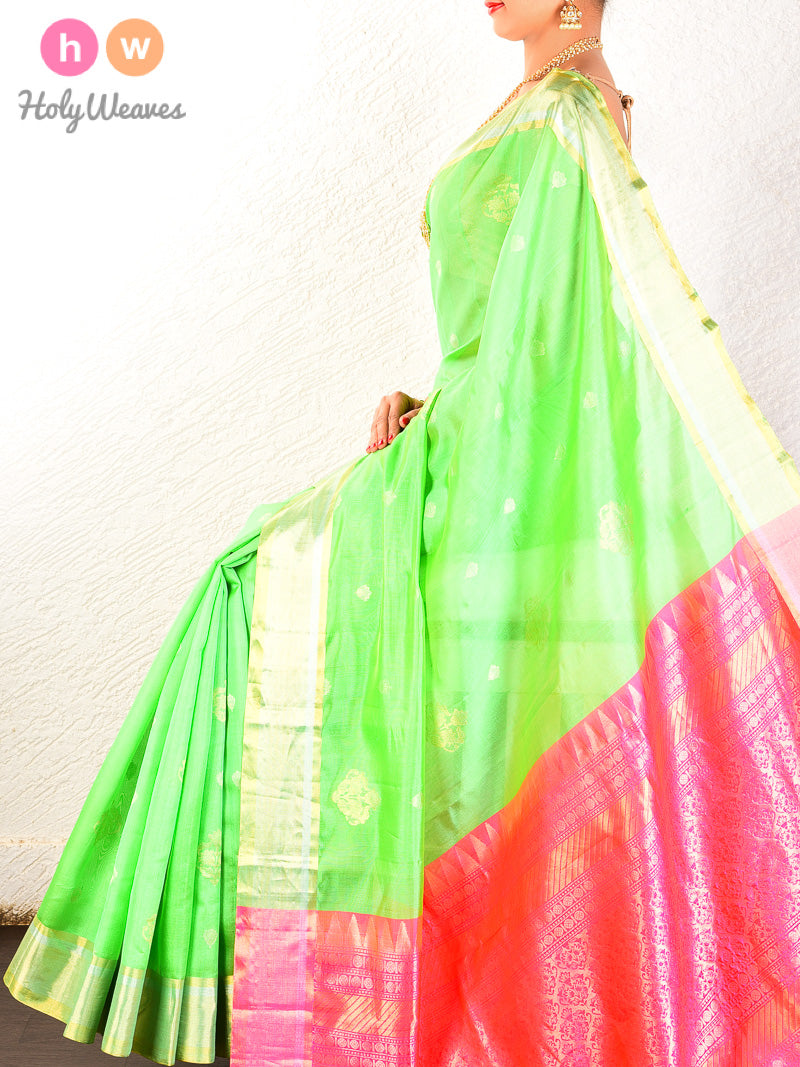 Green Cutwork Brocade Handwoven Dupion Silk Saree - HolyWeaves