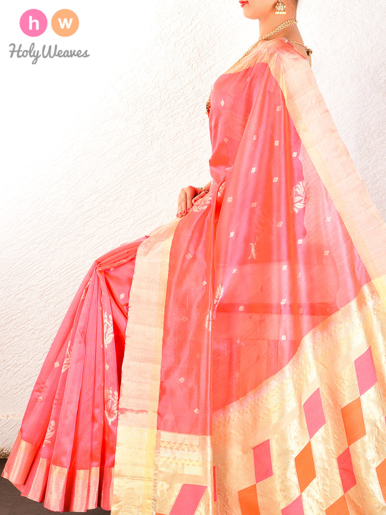 Peach Cutwork Brocade Handwoven Dupion Silk Saree - HolyWeaves