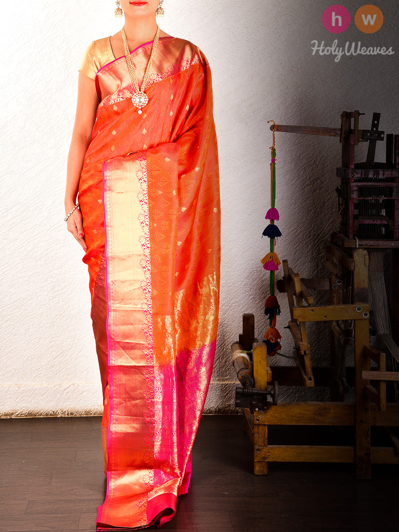 Orange Tanchoi Brocade Handwoven Pure Silk Saree - HolyWeaves