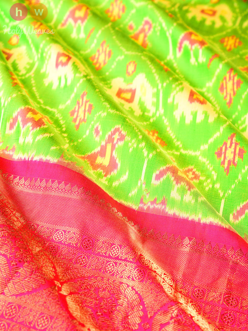 Green Pochampally Ikat Handwoven Silk Saree with Brocade Border - HolyWeaves