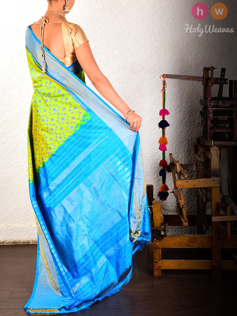 Green Pochampally Ikat Handwoven Silk Saree - HolyWeaves