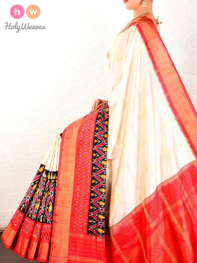 Cream Pochampally Ikat Handwoven Silk Saree - HolyWeaves