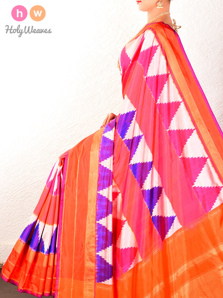 Multi-color Pochampally Ikat Handwoven Silk Saree - HolyWeaves