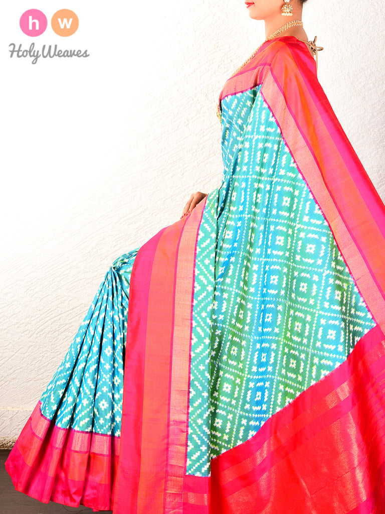 Green Pochampally Double Ikat Handwoven Silk Saree - HolyWeaves