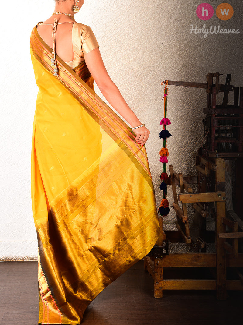 Yellow Gadwal Cutwork Brocade Handwoven Cotton Silk Saree - HolyWeaves
