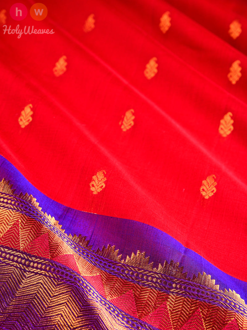 Red-Purple Gadwal Cutwork Brocade Handwoven Cotton Silk Saree - HolyWeaves
