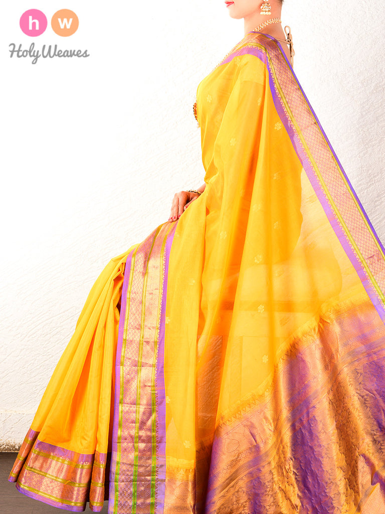 Yellow-Mauve Gadwal Cutwork Brocade Handwoven Cotton Silk Saree - HolyWeaves