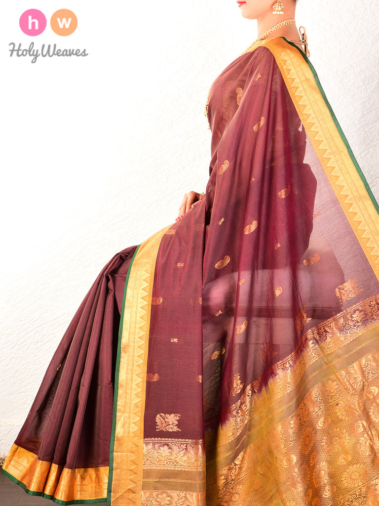 Brown Gadwal Cutwork Brocade Handwoven Cotton Silk Saree - HolyWeaves