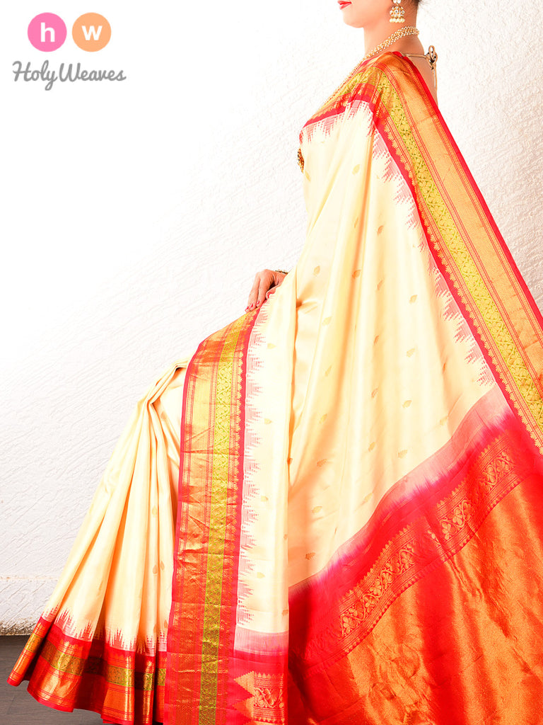 Cream-Red Gadwal Kadhuan Brocade Handwoven Silk Saree - HolyWeaves
