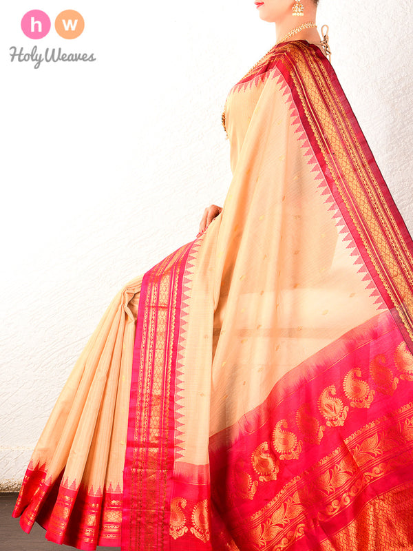 Beige Gadwal Kadhuan (कढ़ुआँ) Brocade Handwoven Cotton Silk Saree - HolyWeaves