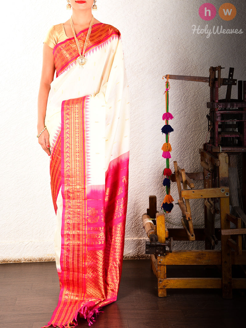 Cream-Pink Gadwal Kadhuan Brocade Handwoven Cotton Silk Saree - HolyWeaves