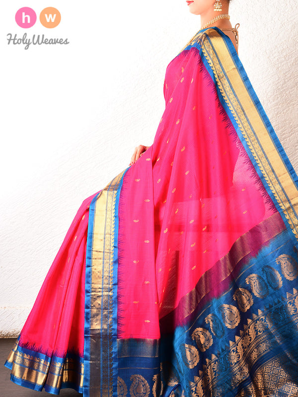 Pink-Blue Gadwal Kadhuan (कढ़ुआँ) Brocade Handwoven Cotton Silk Saree - HolyWeaves