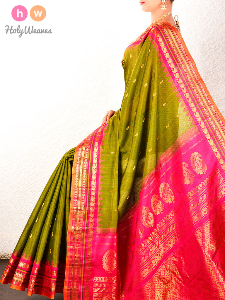 Olive Green-Pink Gadwal Kadhuan Brocade Handwoven Cotton Silk Saree - HolyWeaves