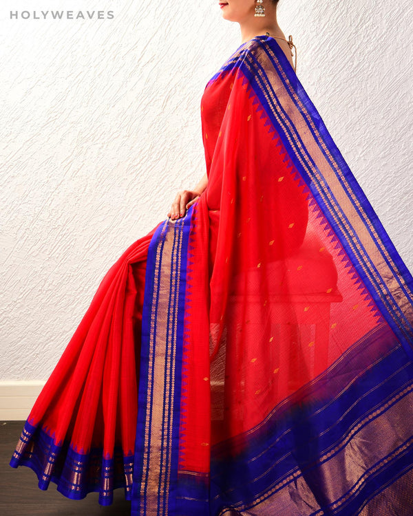 Red-Blue Gadwal Kadhuan (कढ़ुआँ) Brocade Handwoven Cotton Silk Saree