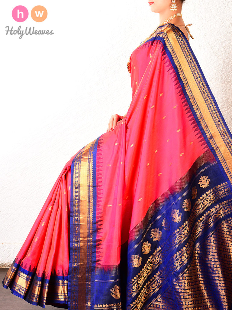 Pink-Blue Gadwal Kadhuan Brocade Handwoven Silk Saree - HolyWeaves