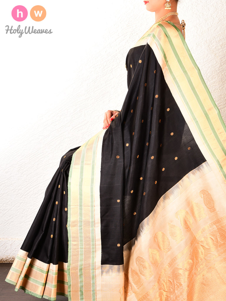Black Gadwal Kadhuan Brocade Handwoven Silk Saree - HolyWeaves
