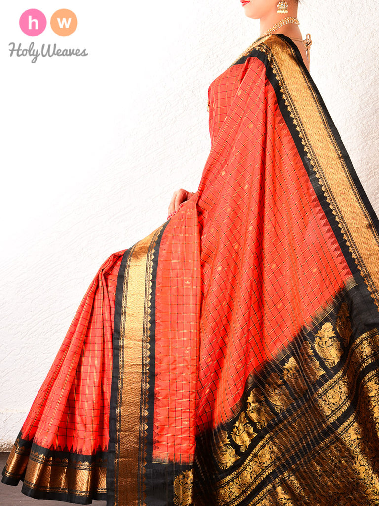 Red-Black Gadwal Kadhuan Brocade Handwoven Silk Saree - HolyWeaves