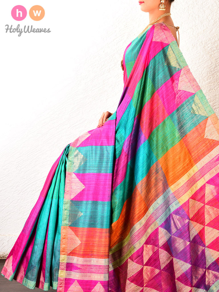 Multi-color Brocade Handwoven Raw Silk Saree - HolyWeaves