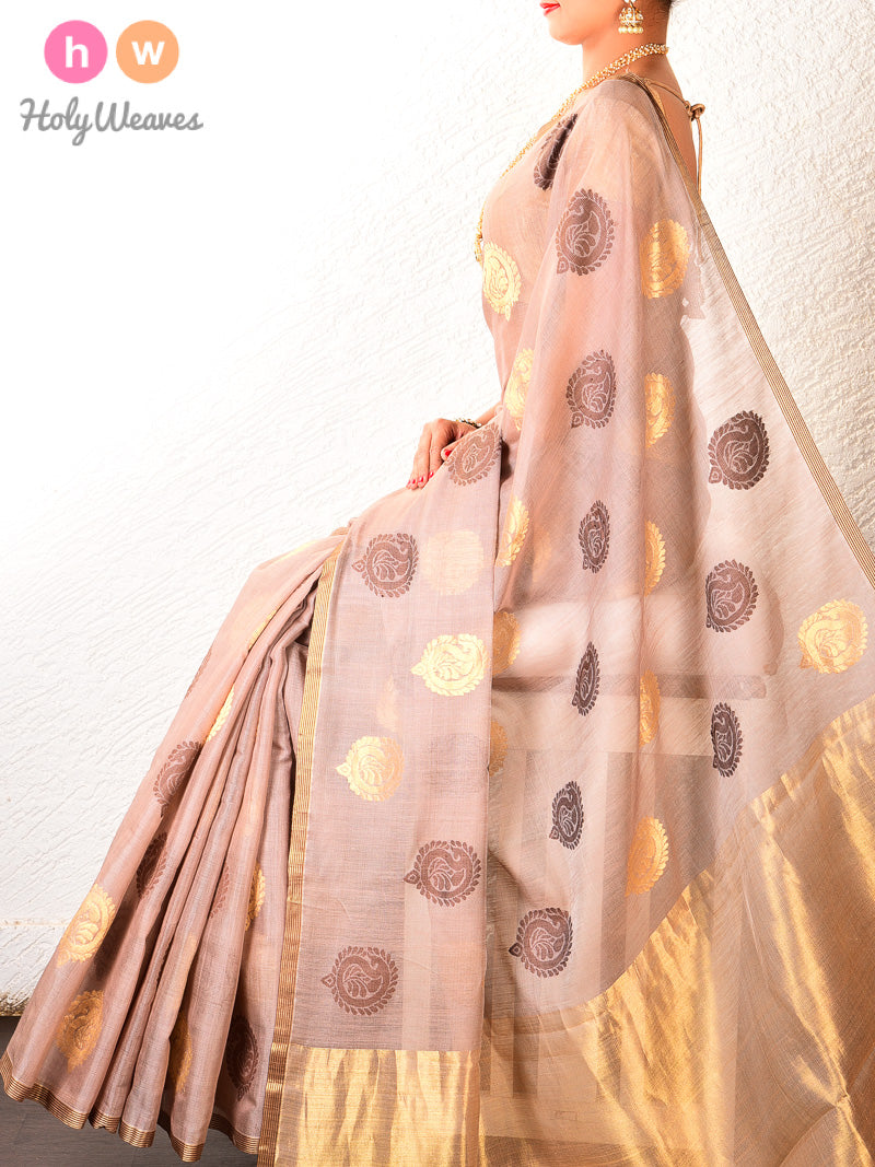 Beige Kadhuan Brocade Handwoven Cotton Silk Saree - HolyWeaves