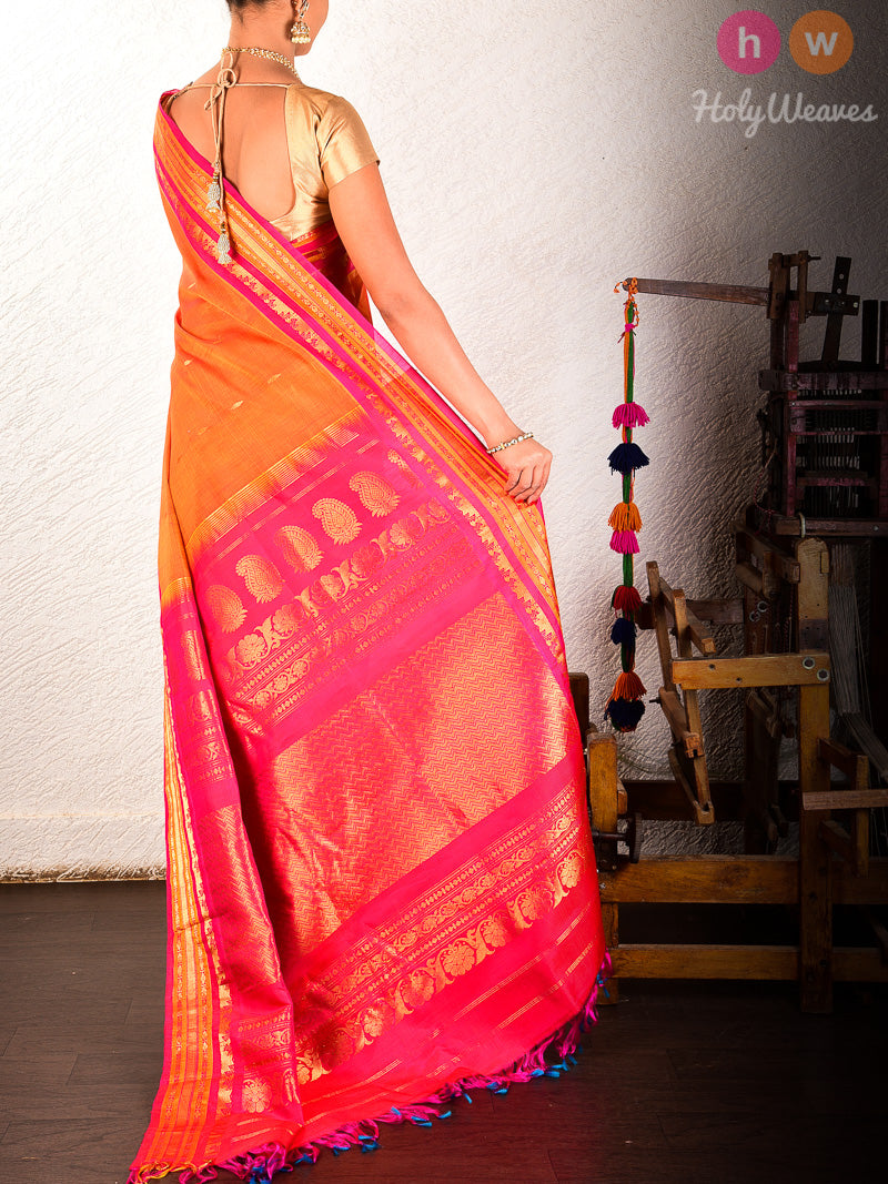 Orange-Pink Gadwal Kadhuan (कढ़ुआँ) Brocade Handwoven Cotton Silk Saree- HolyWeaves