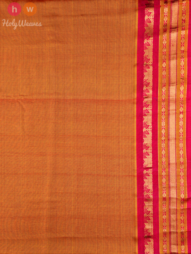 Orange-Pink Gadwal Kadhuan (कढ़ुआँ) Brocade Handwoven Cotton Silk Saree - HolyWeaves