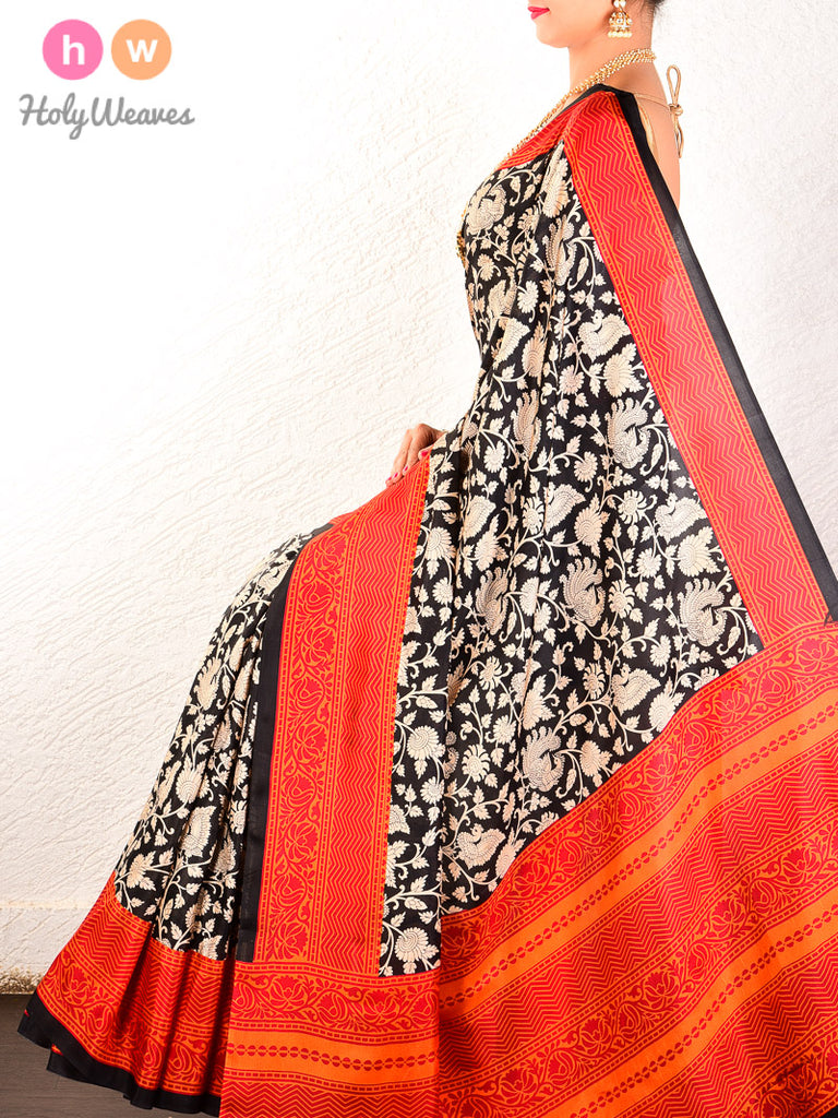 Black-Red Printed Shikargah Pure Silk Saree - HolyWeaves