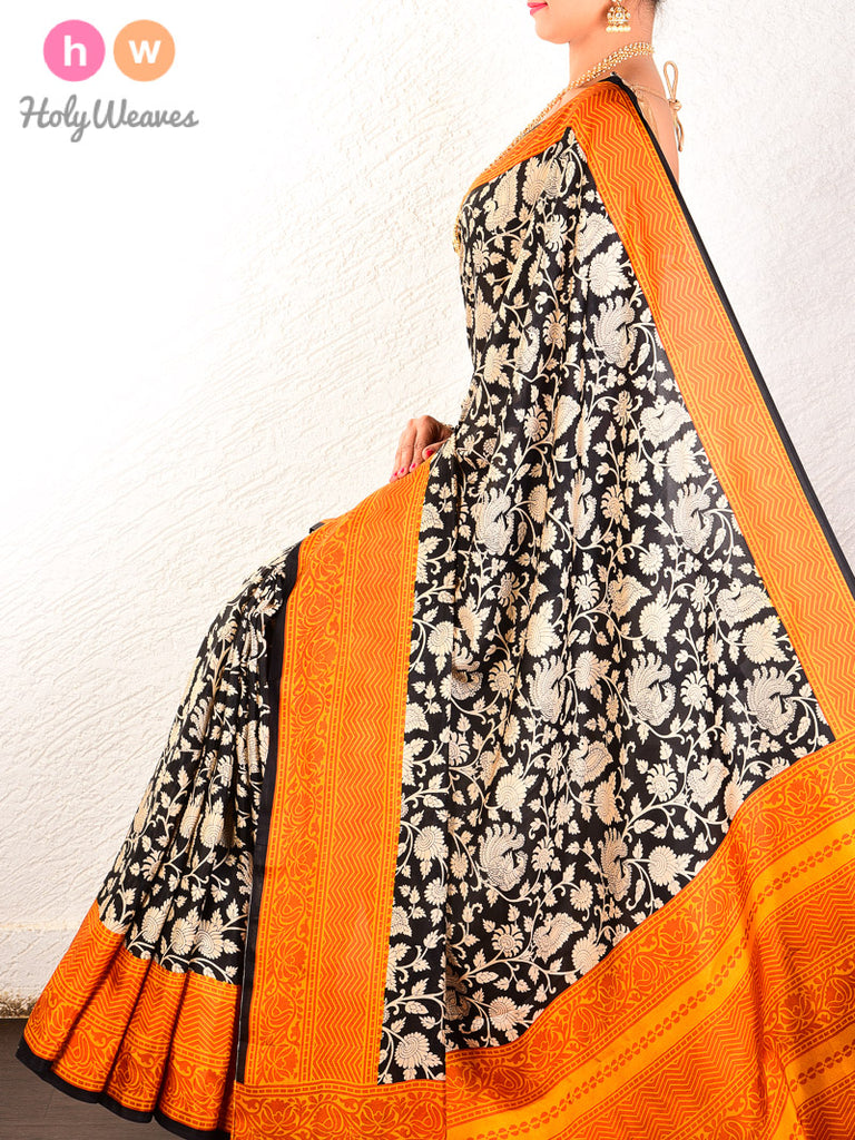 Black-Orange Printed Shikargah Pure Silk Saree - HolyWeaves