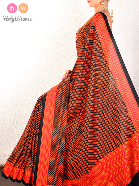 Red-Black Printed Tilak Butis Pure Silk Saree - HolyWeaves