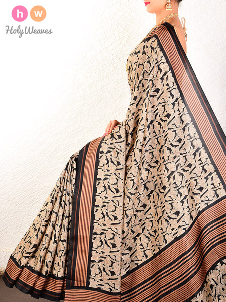 Black Printed Stylized Floral Jangla Pure Silk Saree - HolyWeaves