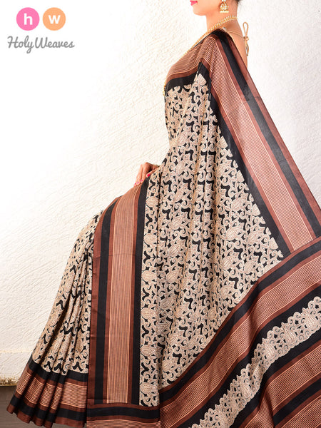 Black Printed Mughal Mosaic Muga Silk Saree - HolyWeaves