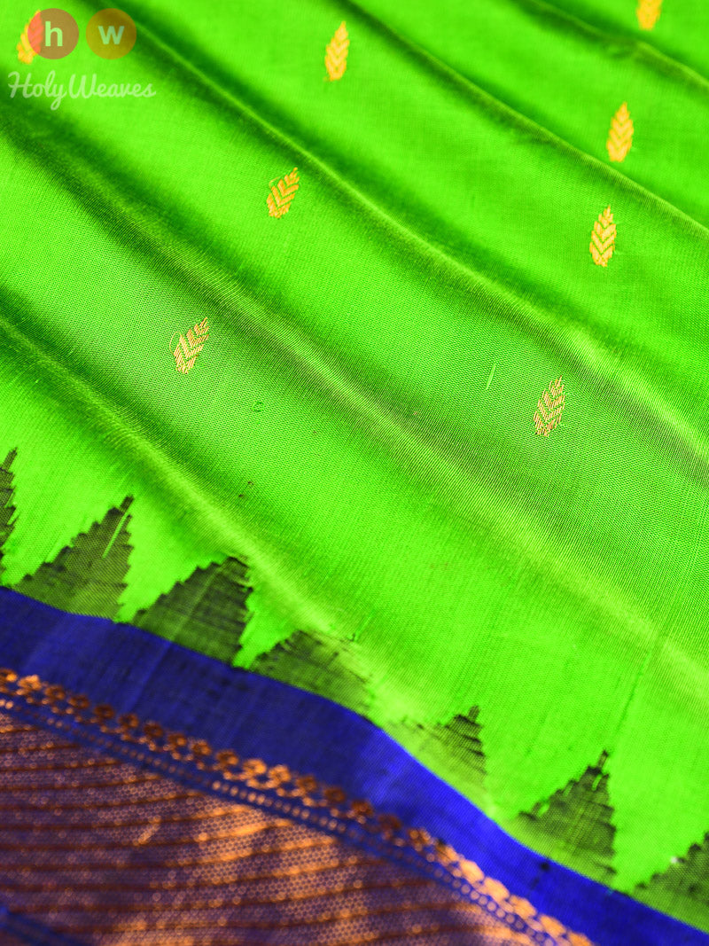 Green-Blue Gadwal Kadhuan Brocade Handwoven Silk Saree - HolyWeaves