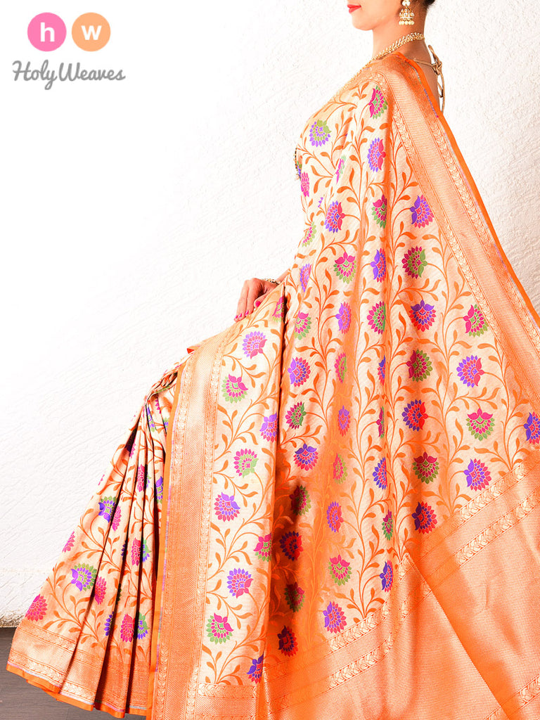 Orange Banarasi Cutwork Brocade Handwoven Katan Silk Saree - HolyWeaves