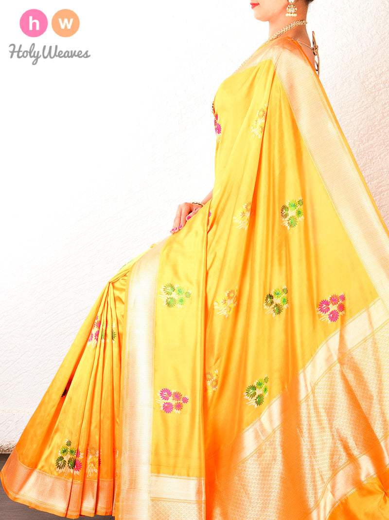 Yellow Banarasi Kadhuan Brocade Handwoven Katan Silk Saree - HolyWeaves