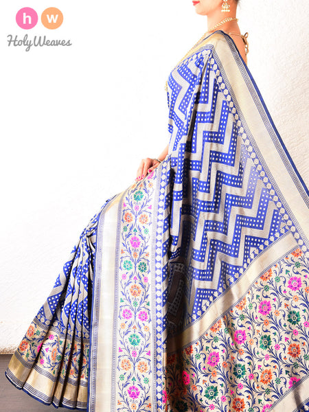 Royal Blue Banarasi Cutwork Brocade Handwoven Katan Silk Saree