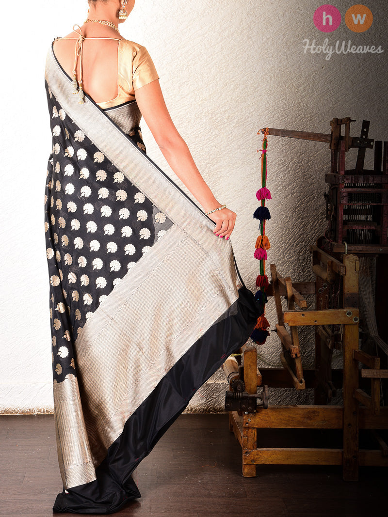 Black Banarasi Cutwork Brocade Handwoven Katan Silk Saree - HolyWeaves