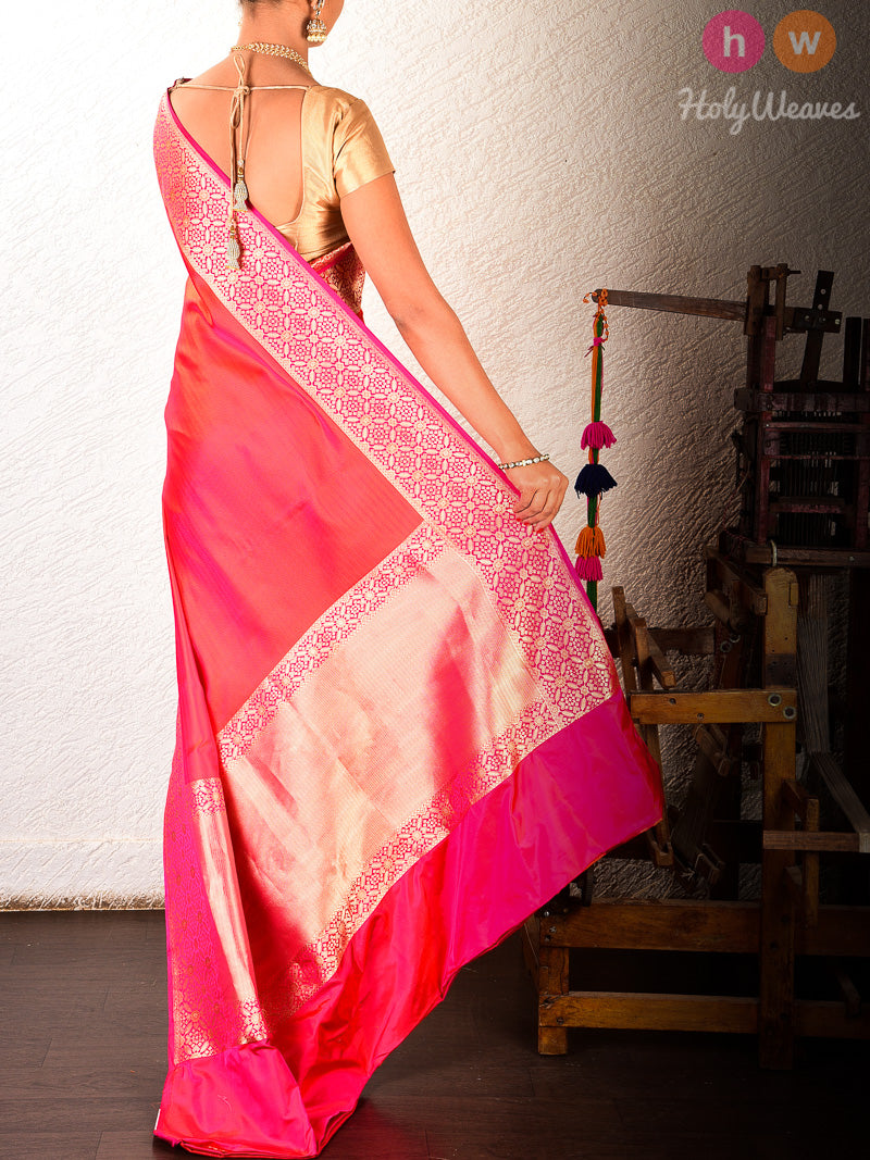 Red Banarasi Tanchoi Brocade Handwoven Katan Silk Saree - HolyWeaves