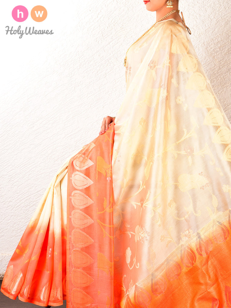 Cream-Orange Cutwork Brocade Handwoven Dupion Silk Saree - HolyWeaves