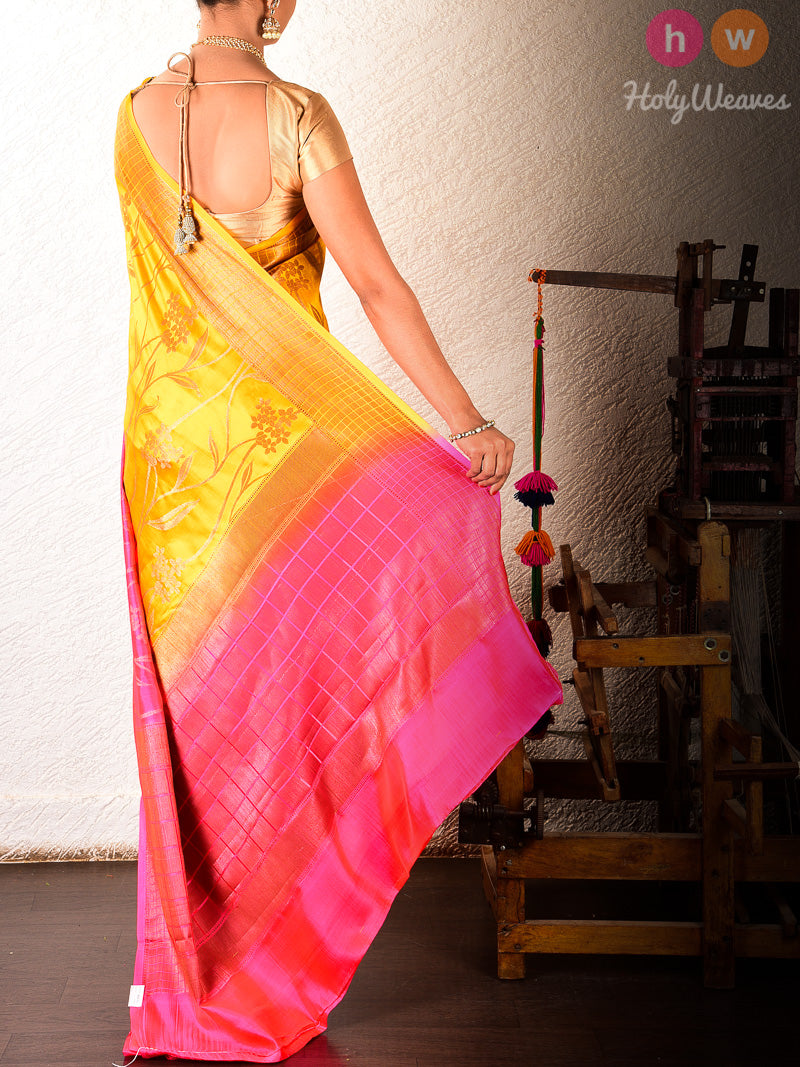 Mustard-Pink Cutwork Brocade Handwoven Dupion Silk Saree - HolyWeaves