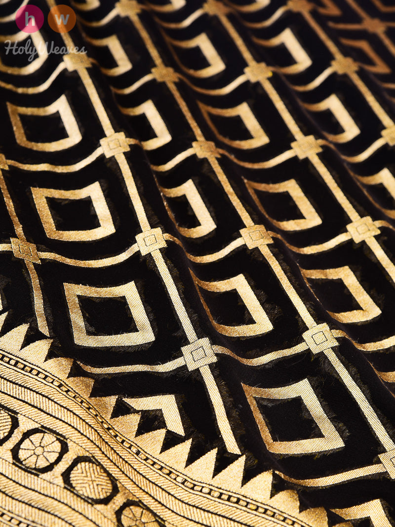 Black Banarasi Cutwork Brocade Handwoven Khaddi Georgette Saree - HolyWeaves