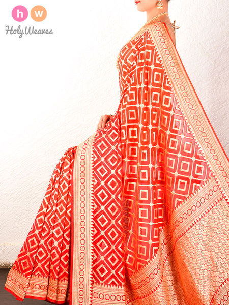 Red Banarasi Cutwork Brocade Handwoven Khaddi Georgette Saree - HolyWeaves